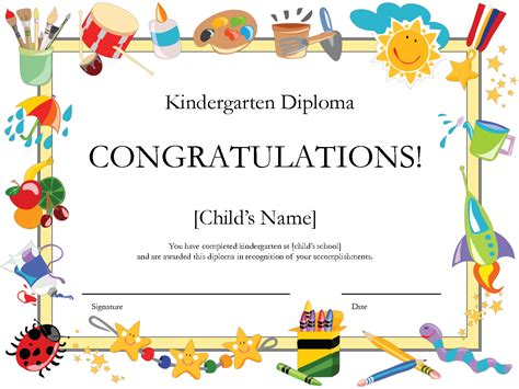 free printable kindergarten diploma by printshowergames 355 | de5e674baf5296a9362cbb010752efea