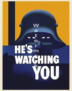 "Vintage US World War II Propaganda Poster ""He's Watching ..."