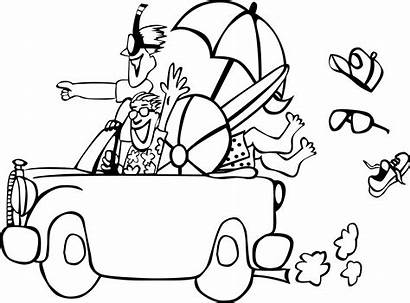 Summer Clipart Beach Coloring Trip Line Pages