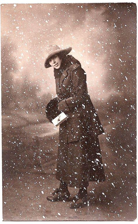 photo woman  snow scene winter  graphics fairy