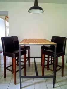 Table Haute Noire : table haute fabrication artisanale cadre en acier brut noir et plateau en bois vernis mat ~ Teatrodelosmanantiales.com Idées de Décoration