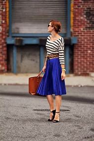 Outfits with a Blue Pleated Skirt