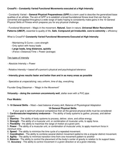Check Resume Score by Crossfit Level 1 Study Sheet