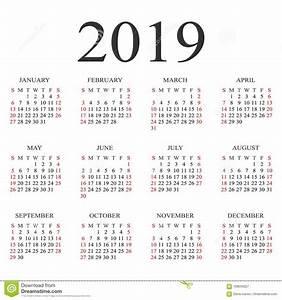 Calendário Molde Do Projeto De Um Vetor De 2019 Anos