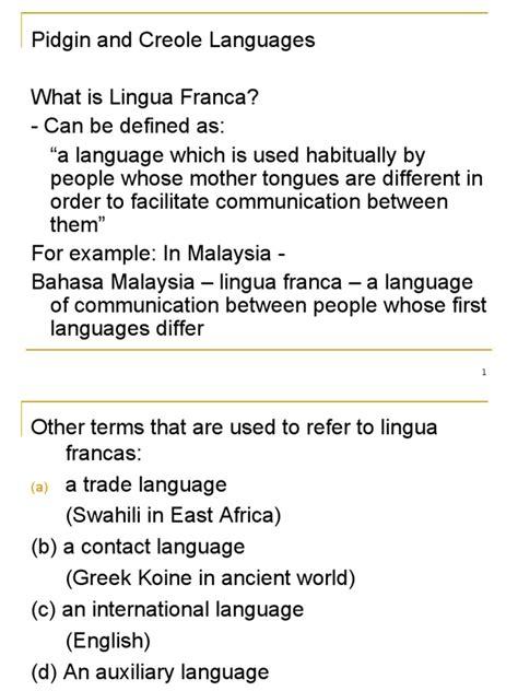 sociolinguistics 3 pidgin creole diglossia jargon