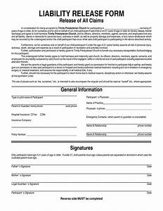 Free printable liability release form template form generic for Release from liability form template