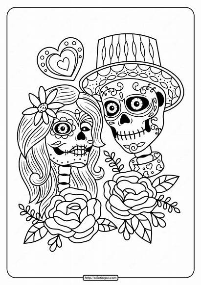 Coloring Dead Skull Printable Couple Adult Sheets