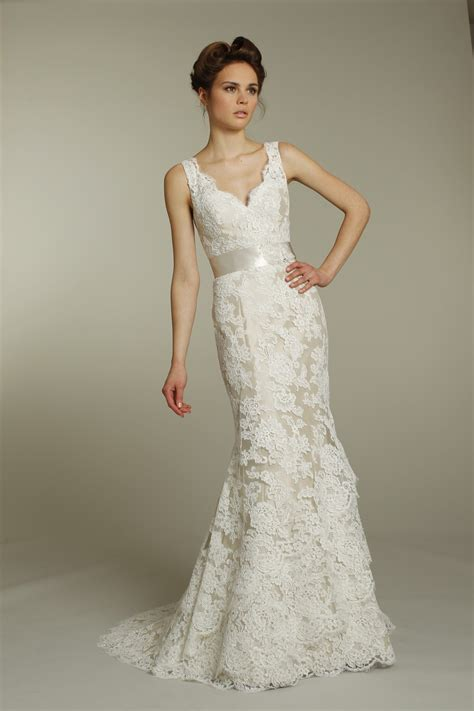 romantic ivory v neck lace wedding dress with chagne
