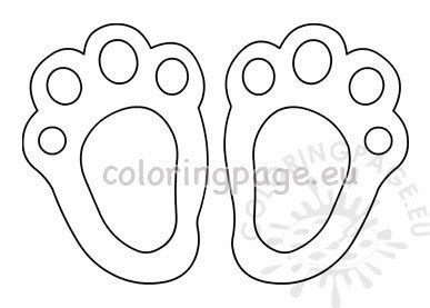 easter bunny paw print template large coloring page