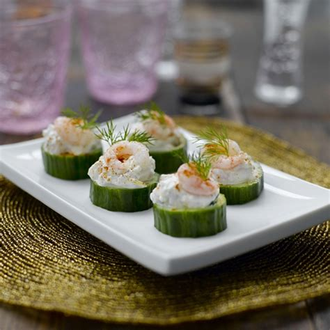 healthy canapes dinner prawn and cucumber canapés healthy recipe weight