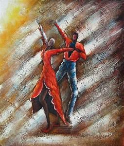Tableau Peinture Sur Toile : tableau peinture danseurs tango peintures danse tango ~ Teatrodelosmanantiales.com Idées de Décoration