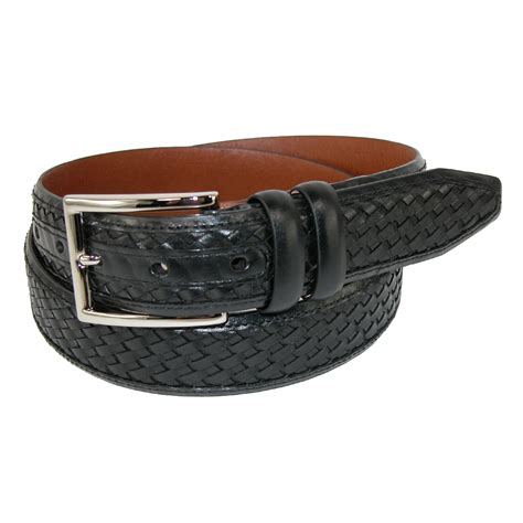 Mens Leather Feather Edge 1 3/8 Inch Woven Belt by ...