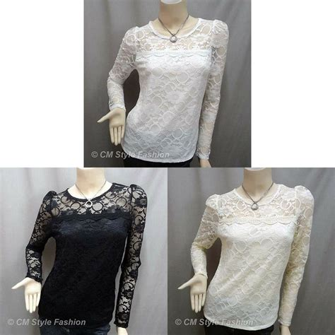 floral lace see through sheer blouse top black beige white s ebay