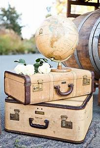 suitcases, and, globe, vintage, travel, themed, wedding, decorations