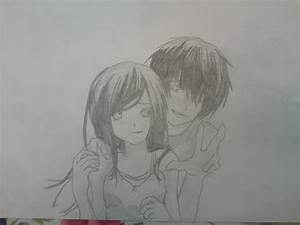 cartoon hugging couple | Cute Anime Couple Drawings Easy ...