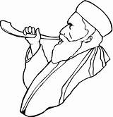 Coloring Pages Rosh Hashanah Printable Beard Blowing Horn Clipart Categories Yom sketch template