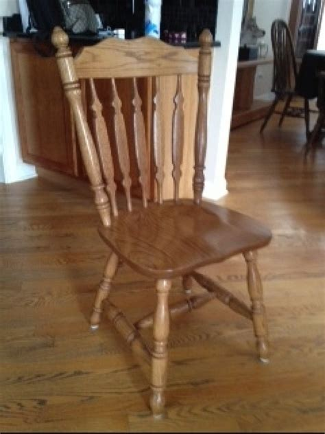 amish made solid oak 48 inch table with 4 solid oak chairs