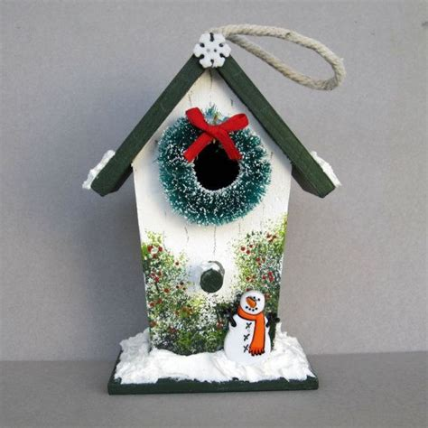 christmas birdhouse decoration  sanquicreations  etsy