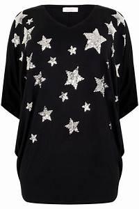 Yours London Black Star Sequin Embellished Oversized