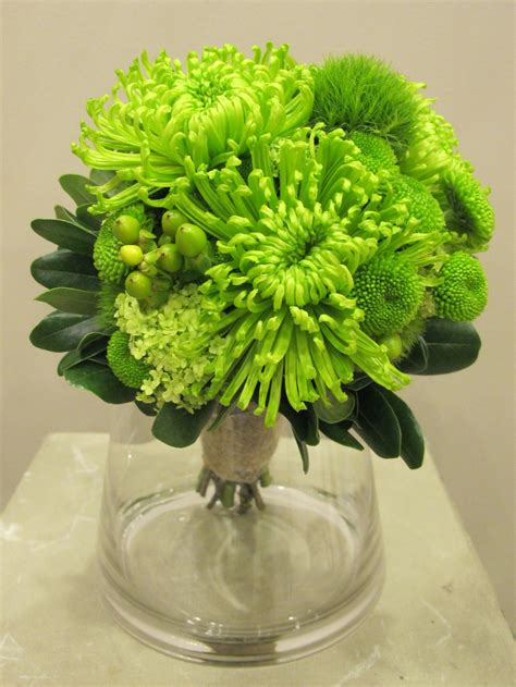 lime green bridal bouquet chrysanthemumspider