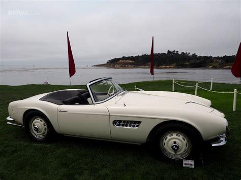 Elvis' BMW 507 displayed on lawn in Pebble Beach