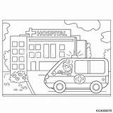 Hospital Coloring Ambulance Outline Vector Near Illustration Doctor Cartoon Template sketch template