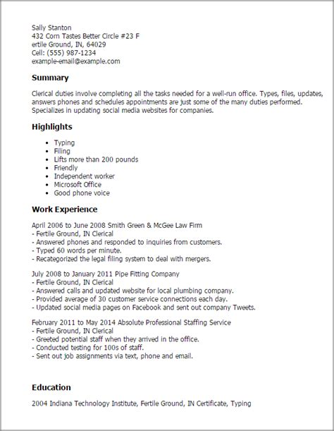 Clerical Position Resume by Professional Clerical Templates To Showcase Your Talent