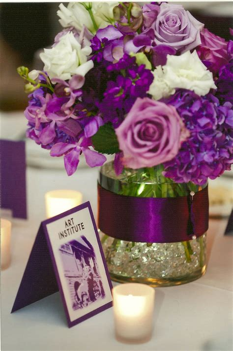 centerpiece  dark purple hydrangea lavender roses