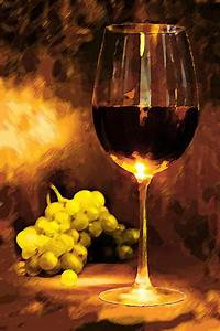 Glass Of Wine And Green Grapes By Candlelight Painting by