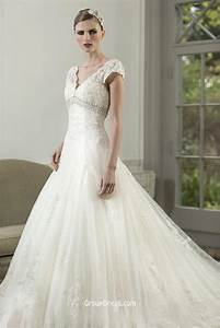 Illusion v neck fit and flare lace cap sleeve empire fall for Lace fit and flare wedding dress with sleeves