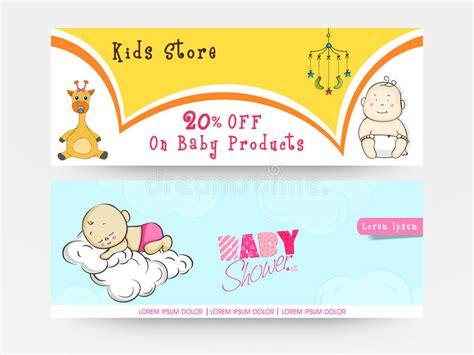Baby Shower Websites - website header or banner set for baby shower stock