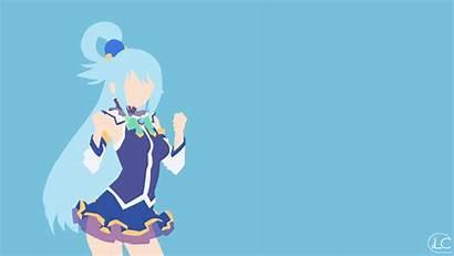 Konosuba Aqua Anime Minimalist Wallpapers Megumin Subarashii