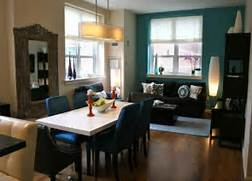 Paint Color Ideas For Living Room by Painting Open Dining To Living Room With Teal Blue Accent Wall Painting Colo