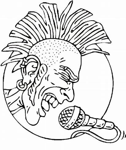Coloring Rock Mohawk Pages Roll Singer Star