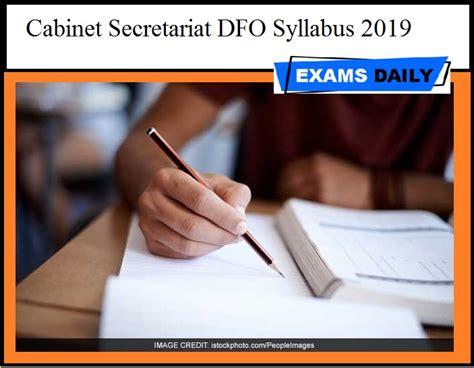 Cabinet Secretariat Result by Cabinet Secretariat Dfo Syllabus 2019 Pdf Exams