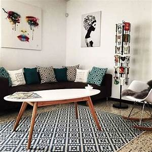 Salon inspiration scandinave avec table basse pieds compas for Tapis ethnique avec canape professionnel