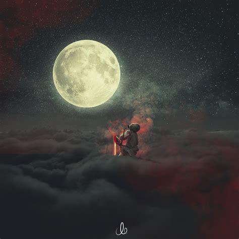 demon staring  moon hd  wallpaper