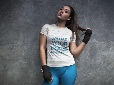 placeit woman   locker room wearing custom