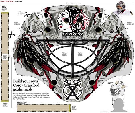 graphic corey crawfords goalie mask chicago tribune
