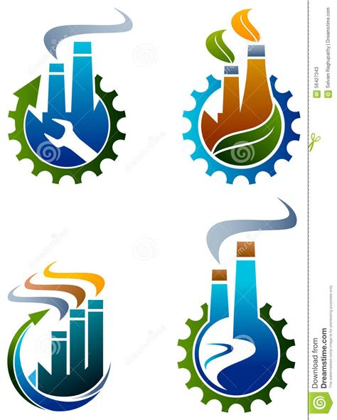 recycling logos industrial logo set stock vector image 56427343