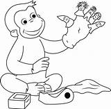 Curious George Coloring Puppet Pages Puppets Fingers Playing Georges Hand Cartoon Coloringpages101 sketch template