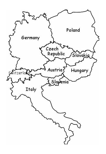 Europe Coloring Map Blank Countries Border Activity