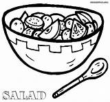 Salad Coloring Pages Drawing Plate Getdrawings sketch template