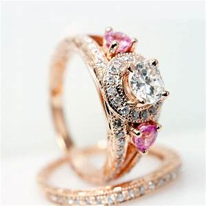 vintage style 14k rose gold diamond engagement ring w With pink gold wedding ring sets