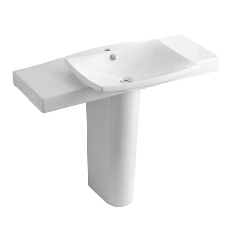 kohler pedestal sink lowes shop kohler escale 34 in h white fire clay pedestal sink