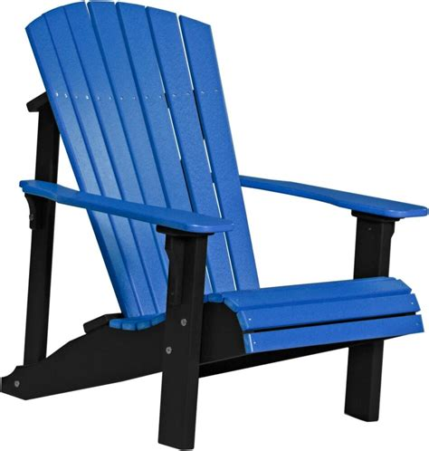 Outdoor Lawn Chairs by Poly Furniture Wood Deluxe Adirondack Chair Blue Black