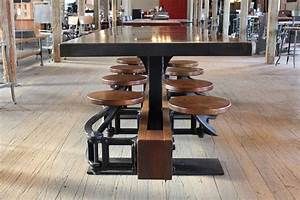 Steel, Top, Swing-out, Seat, Industrial, Dining, Table