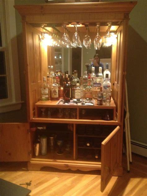 refurbished tv armoire  winemini bar cabinet diy