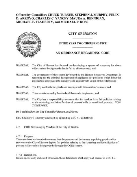 cori background check cori ordinance boston ma 2005 prison news