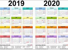 Two Year Calendars For 2019 2020 UK PDF At Calendar